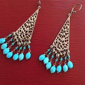 Vintage 925 string silver Turquoise earrings